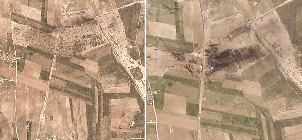 This combination made from two satellite images from Planet Labs Inc. shows the before and after, left, March 3, 2021, right, March 6, 2021 , of the aftermath of a fire following a suspected Russian missile strike early Saturday, March 6, 2021, on an oil-loading facility just northwest of the city of Manbij, Syria. (Planet Labs Inc. via AP)