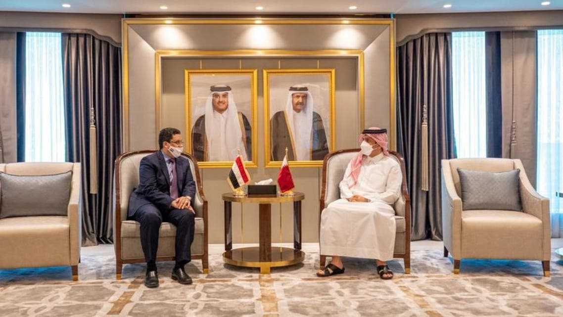 Qatar's Deputy Prime Minister and Minister of Foreign Affairs meets with Yemeni Foreign Minister in Doha. (Qatar MOFA)