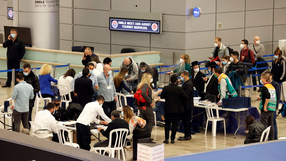 Israelis undergo Covid-19 tests at Ben-Gurion Airport near Tel Aviv on March 1, 2021. (AFP)