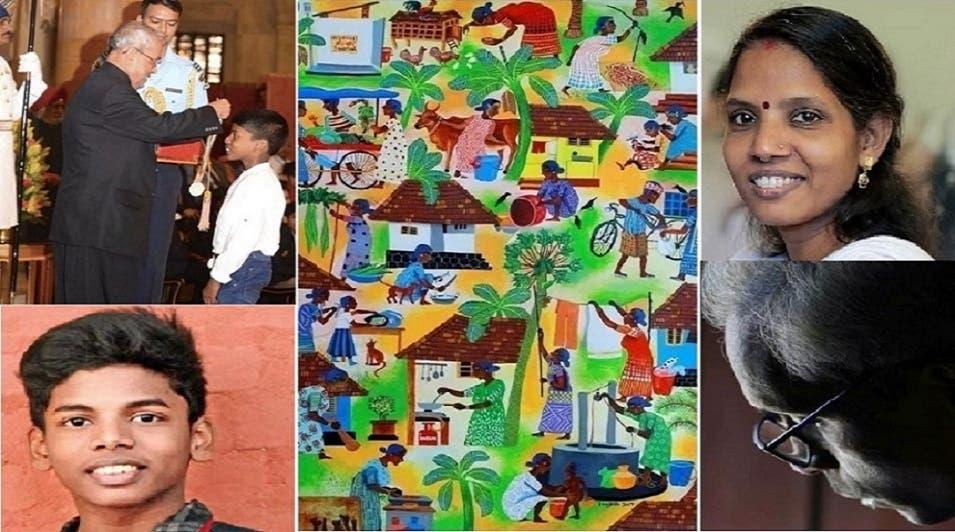 الأم الراحلة يوم فوزه بالمسابقة، وصورة للأب، وثالثة للوحة، ووسام استحقه حين كان عمره 9 أعوام