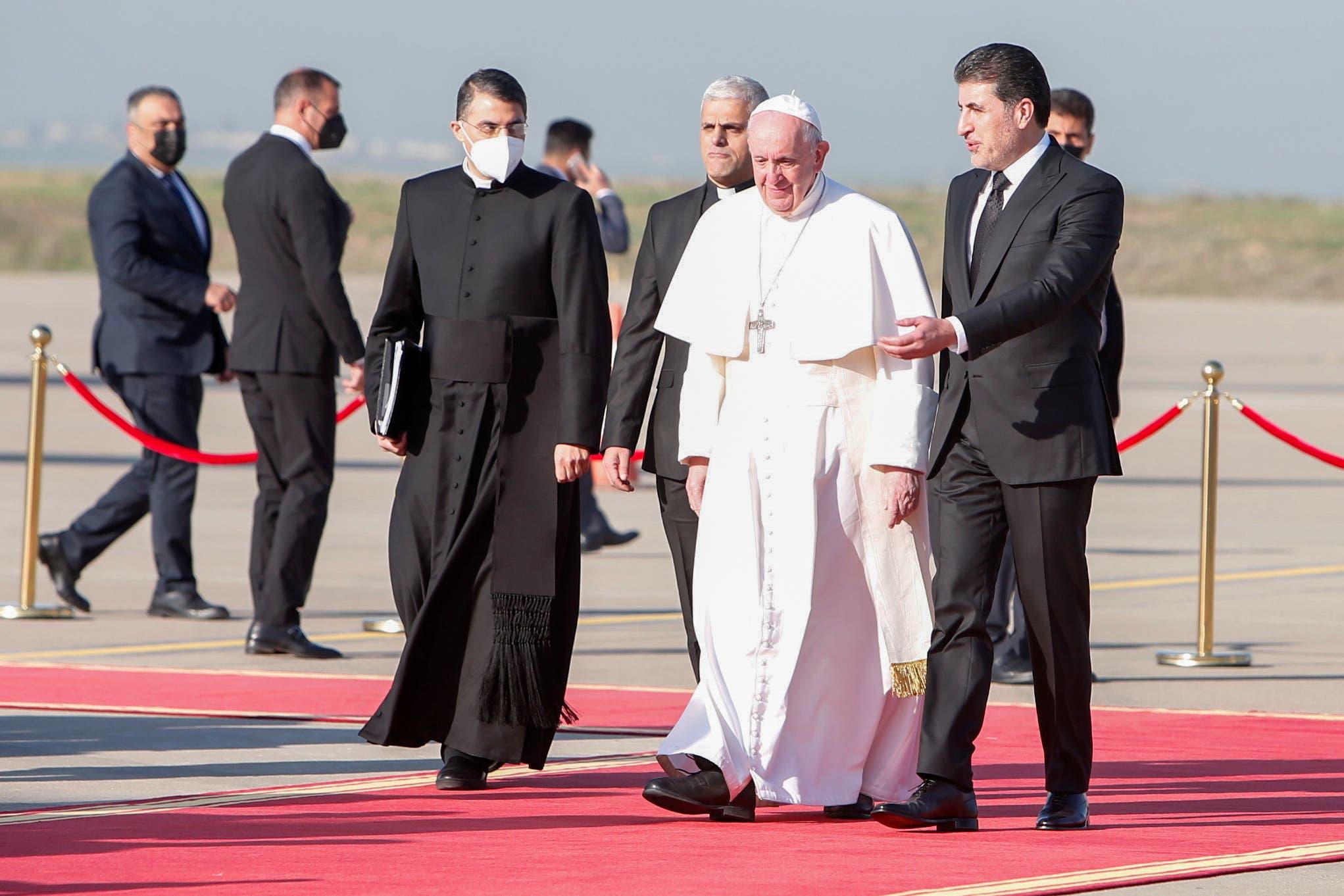 وصول البابا فرنسيس إلى أربيل