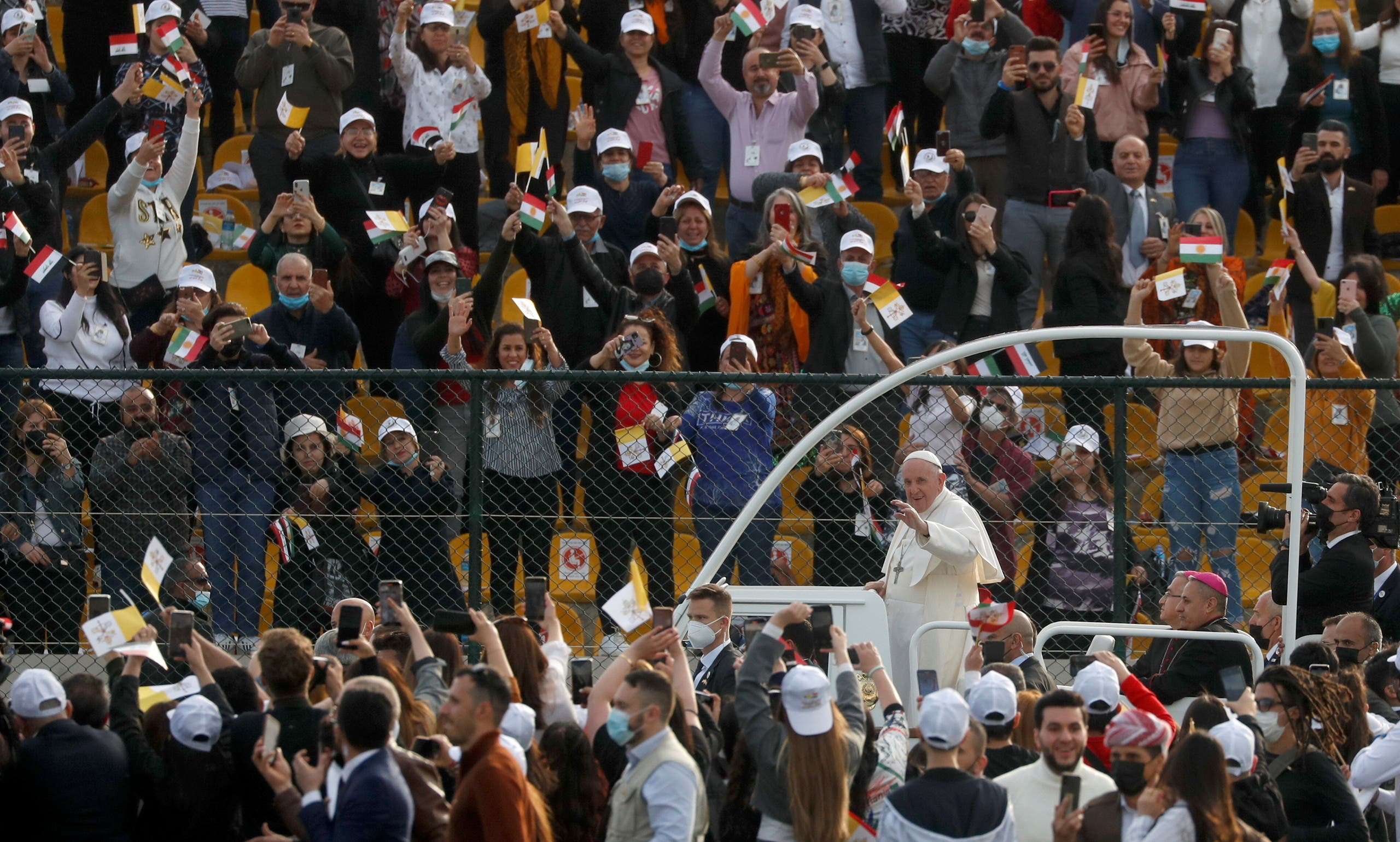 Pope Francis arrives to hold a Mass at Franso Hariri Stadium in Erbil, Iraq, March 7, 2021. (Reuters)