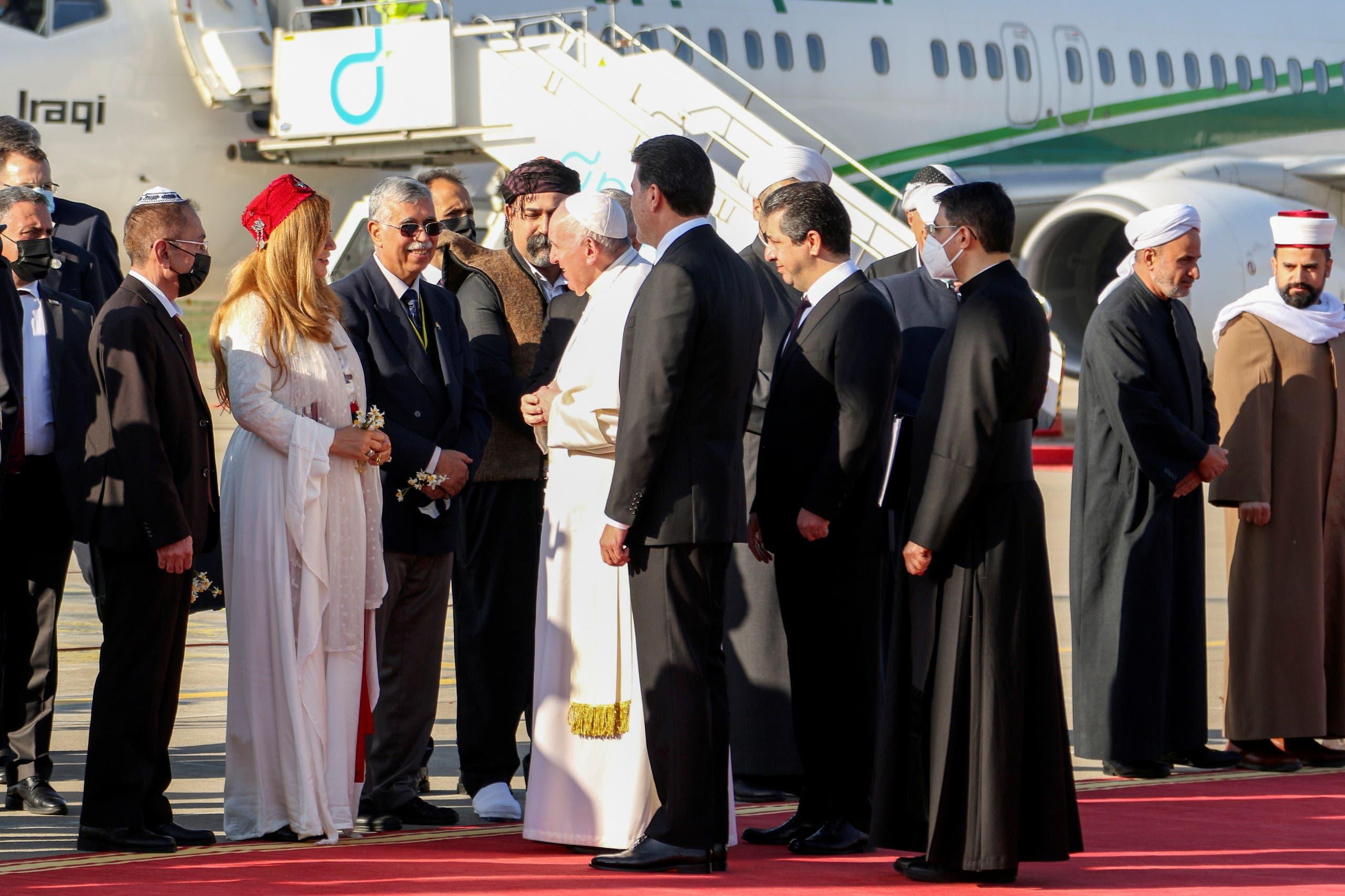 وصول البابا فرانسيس إلى أربيل