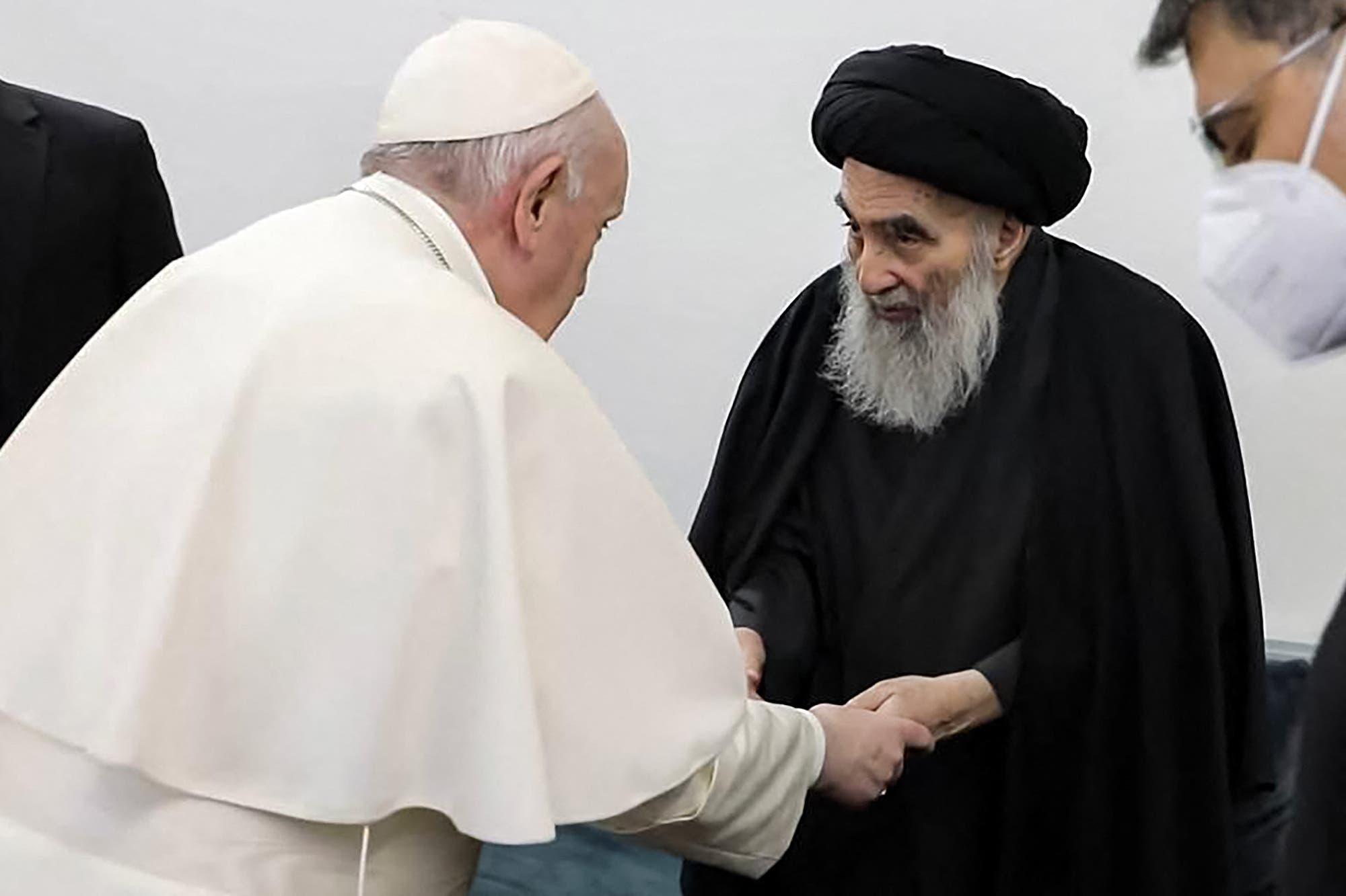 من لقاء السيستاني والبابا فرنسيس في النجف يوم 6 مارس