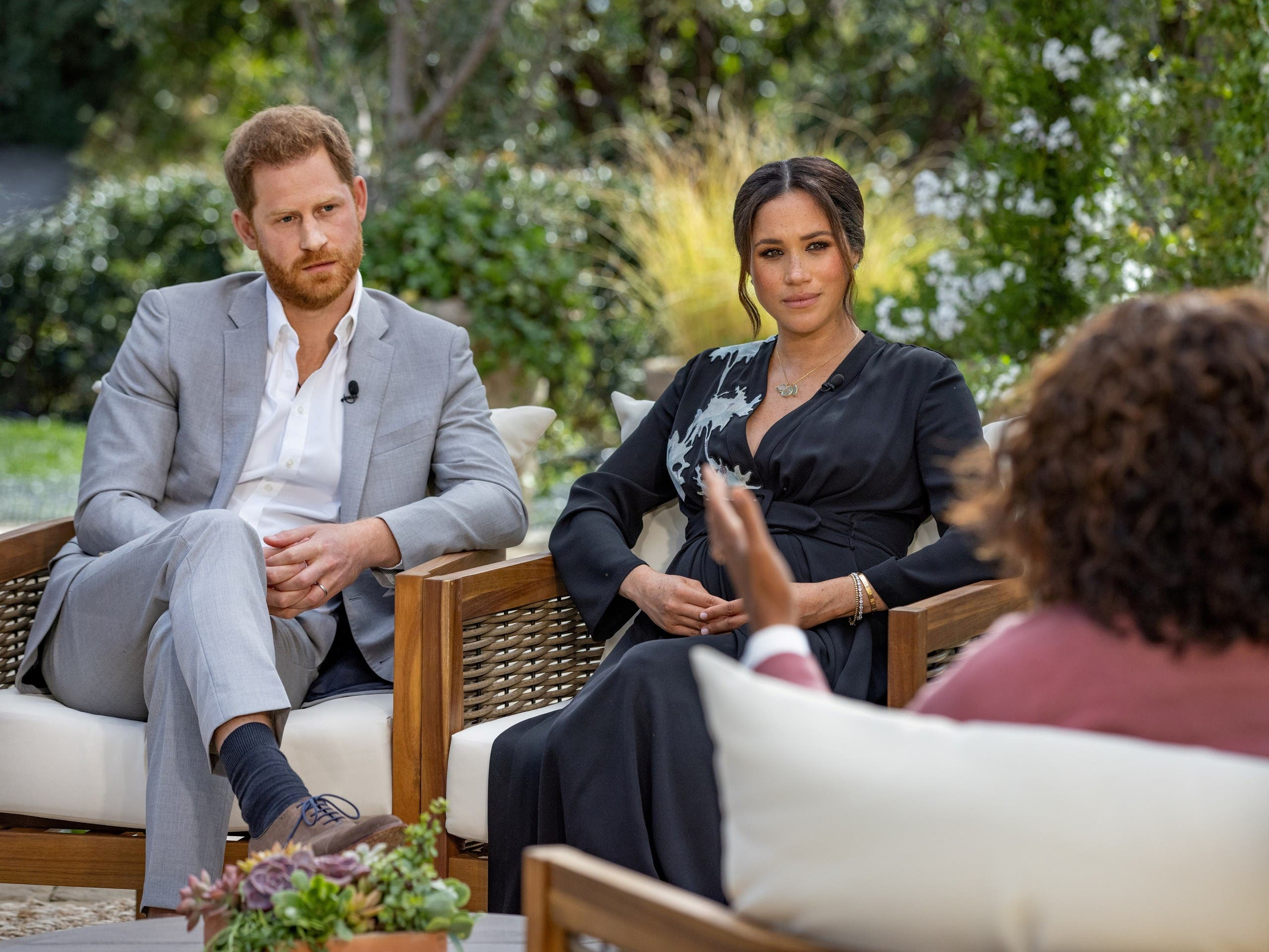 Meghan, Duchess of Sussex, gives an interview to Oprah Winfrey in this undated handout photo. (File photo: Harpo Productions Handout via Reuters)