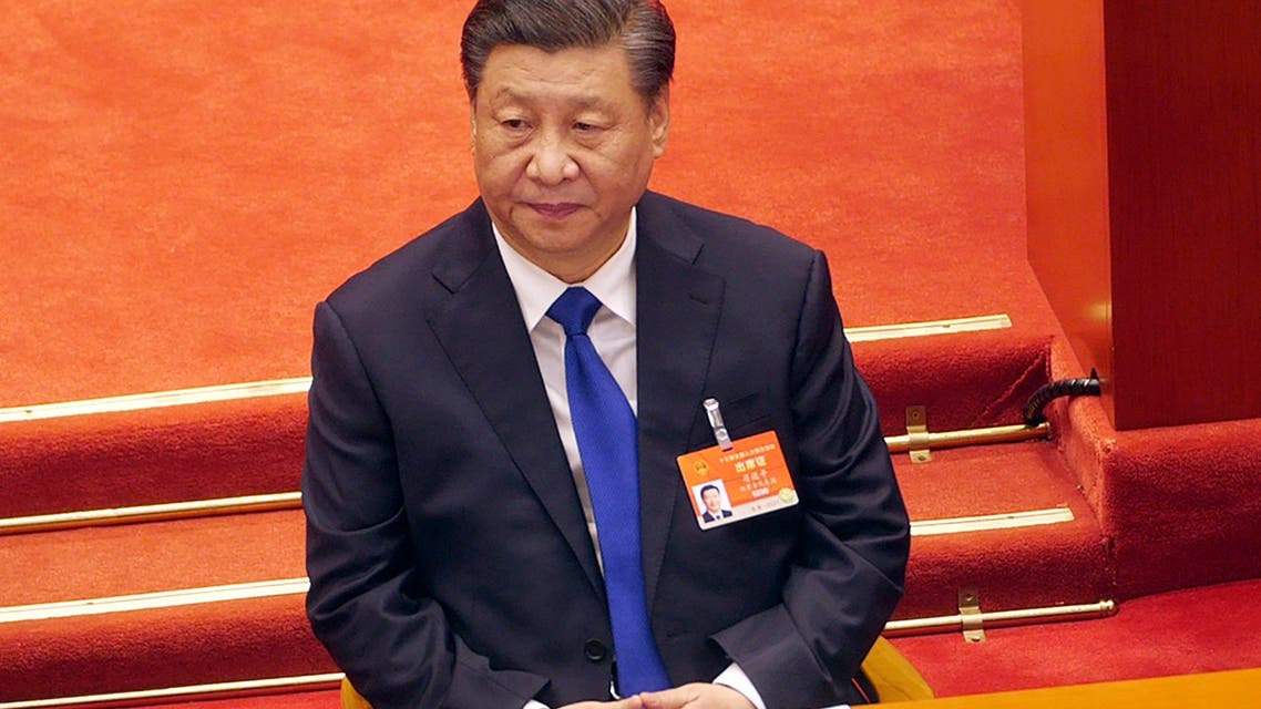 Chinese President Xi Jinping attends a plenary session of China's National People's Congress (NPC) the Great Hall of the People in Beijing, Monday, March 8, 2021. (AP)