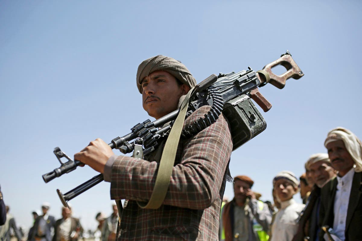 A Houthi tribesman holds his weapon during a gathering showing support for the Houthi militia, in Sanaa, Yemen, Sept. 21, 2019. (File photo: AP)