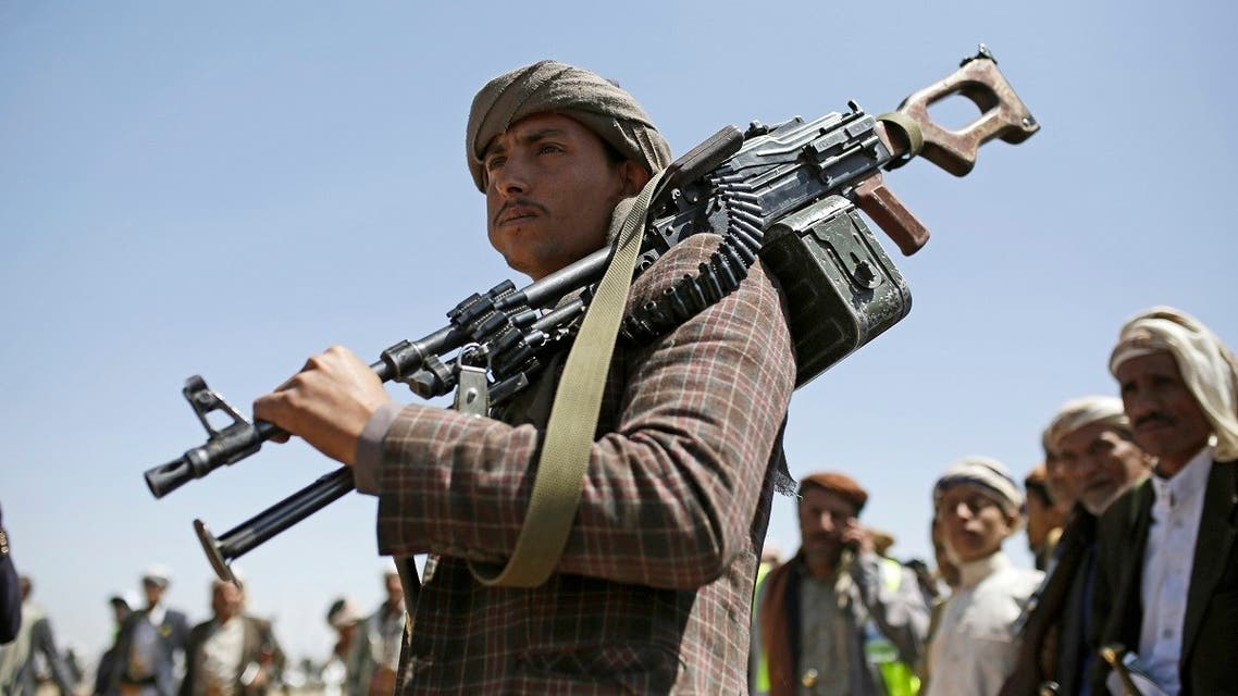 A Shia Houthi tribesman holds his weapon during a gathering showing support for the Houthi militia, in Sanaa, Yemen, Sept. 21, 2019. (AP)