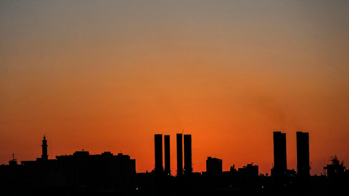 A picture shows a power generating facility in the middle of the Gaza Strip during sunset on August 17, 2020 as Gaza's electricity authority announced that more service cuts would be implemented from due to lack of fuel. Israel halted the import of fuel into the Gaza Strip, the latest punitive measure over a wave of airborne fire bombs from the Palestinian territory. (File photo: AFP)
