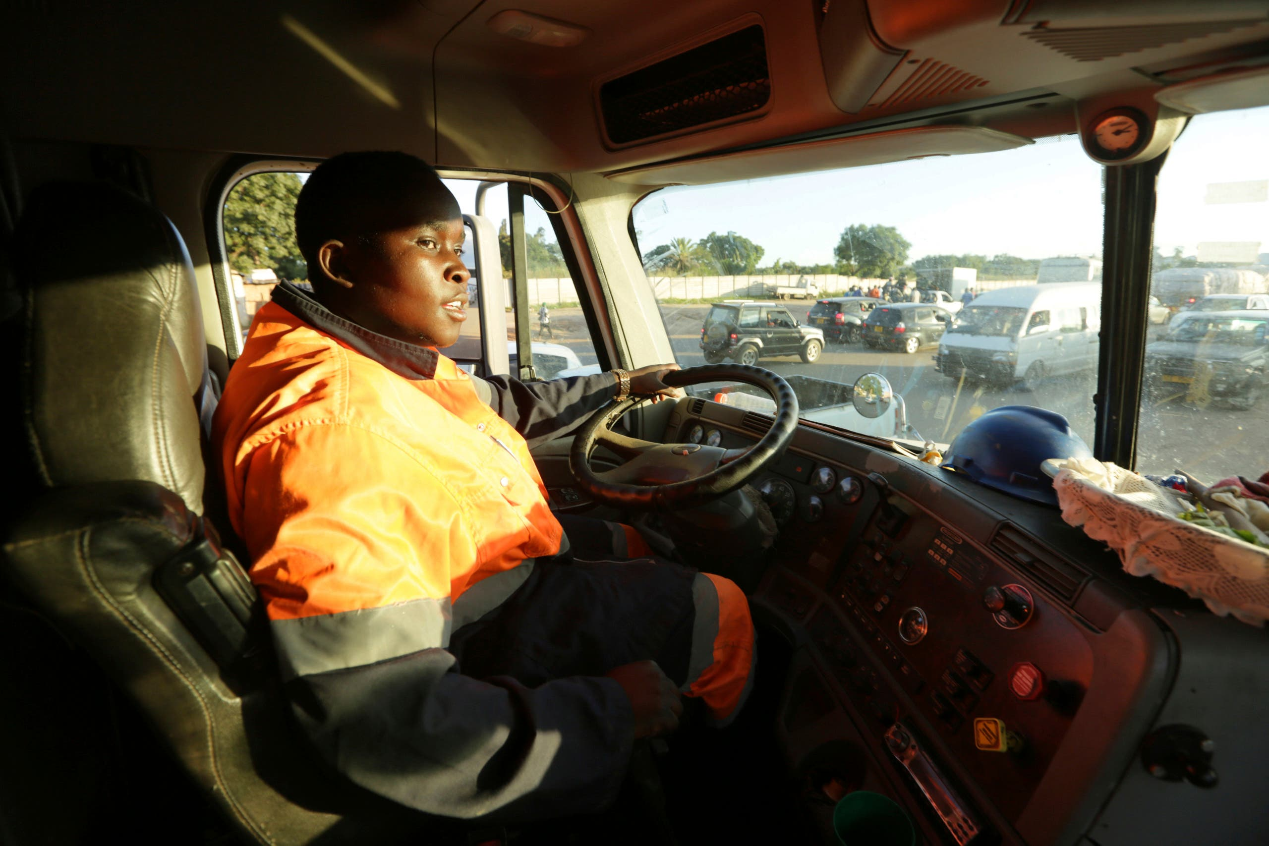 Molly Manatse a female truck driver is seen on the road in Harare, in this Saturday, March, 6, 2021 photo. (AP)