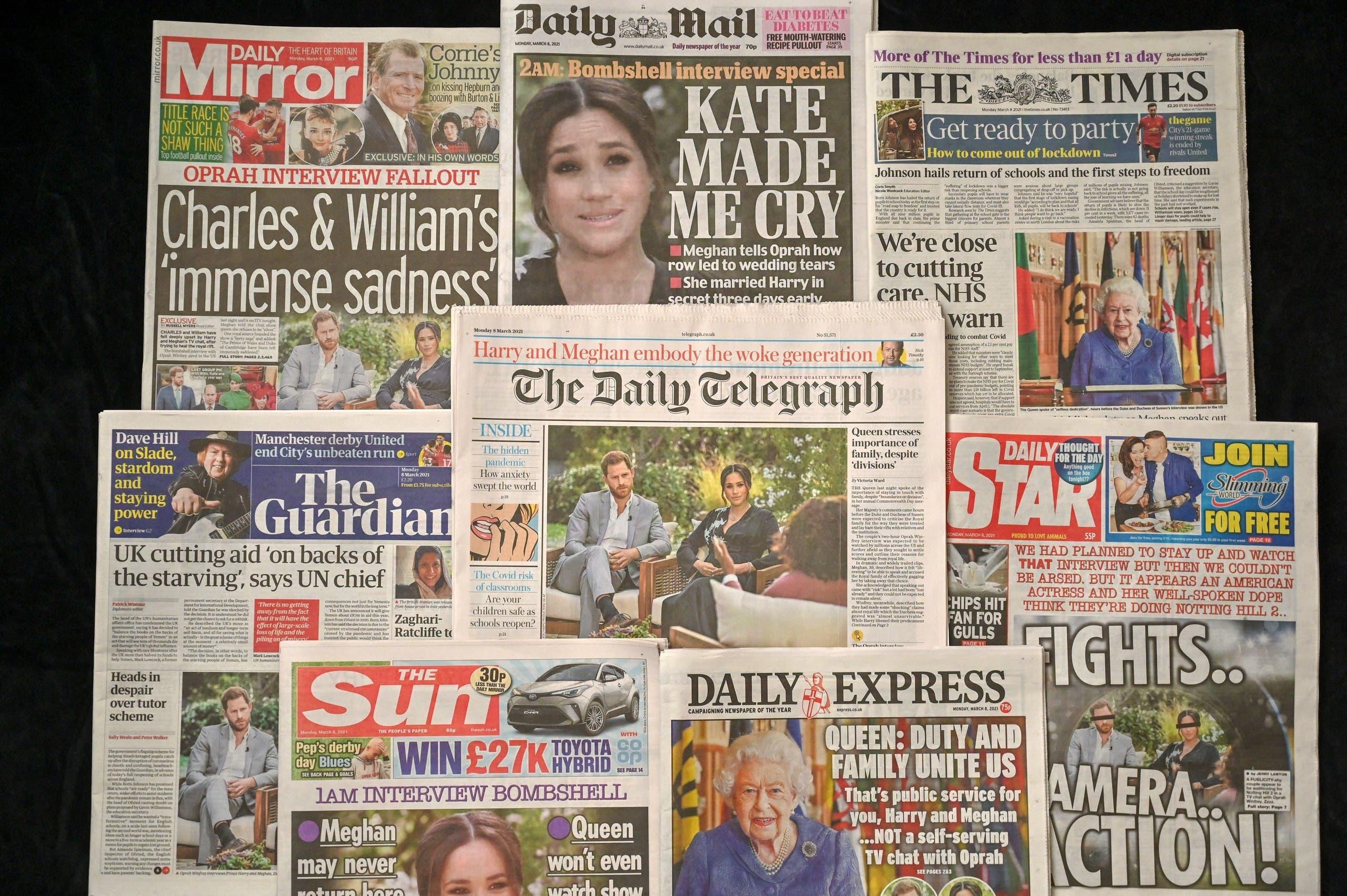 مجموعة من الصحف البريطانية تضع أخباراً من المقابلة على صفحتها الأولى