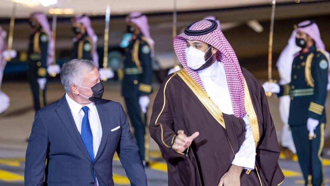 ولي العهد الأمير محمد بن سلمان السعودية يستقبل العاهل الأردني الأردن الملك عبدالله الثاني في 8 مارس 2021