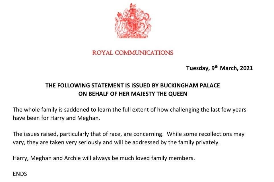 بيان قصر باكنغهام