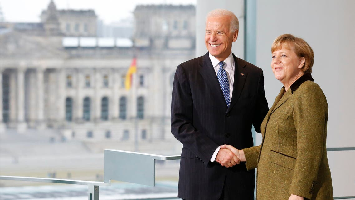 German Chancellor Angela Merkel and then-U.S. Vice President Joe Biden shake hands after a statement to the media before talks in Berlin February 1, 2013. (File photo: Reuters)