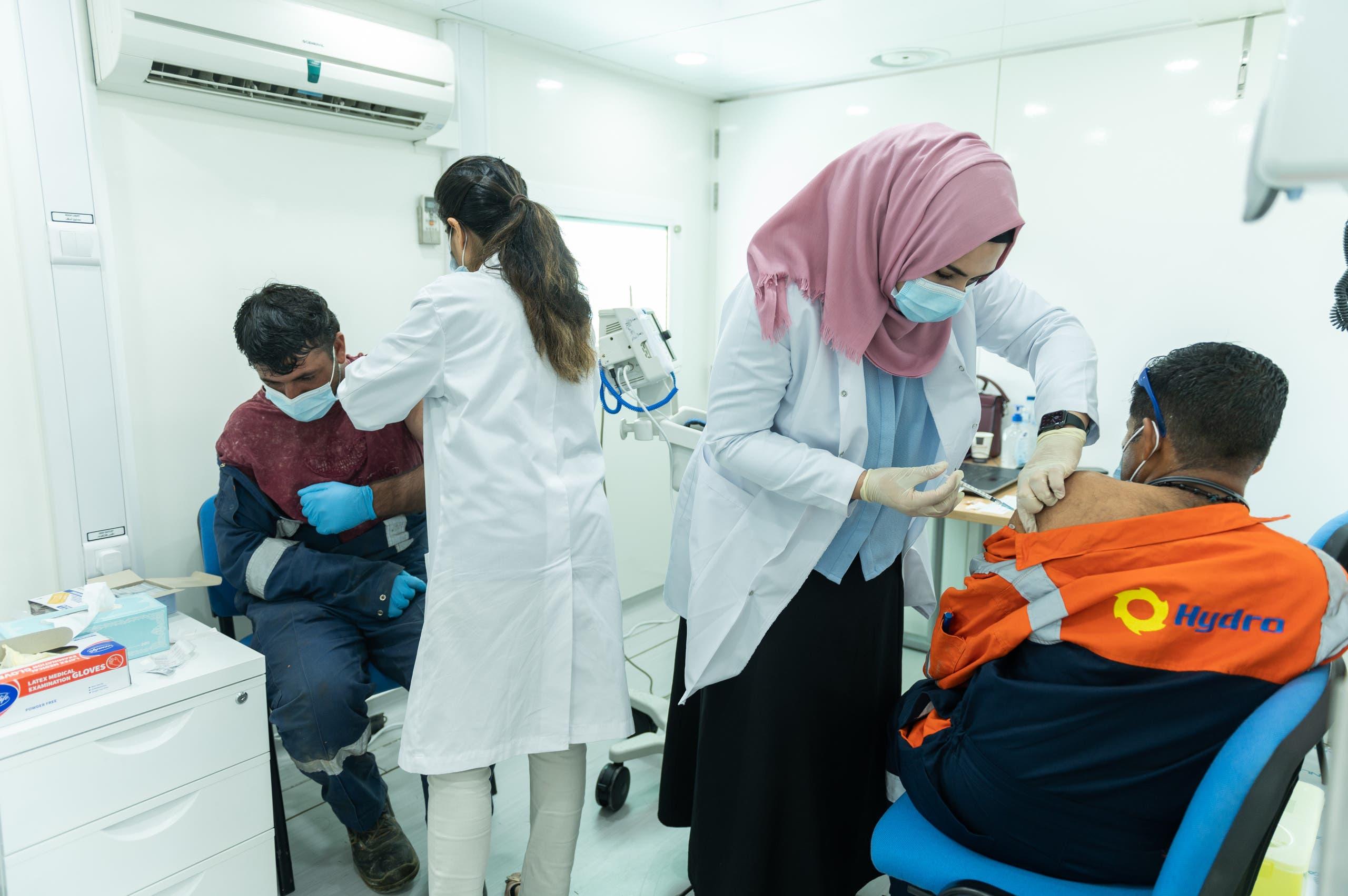 Inside one of Dubai's mobile vaccination clinics. (Dubai Media Office)