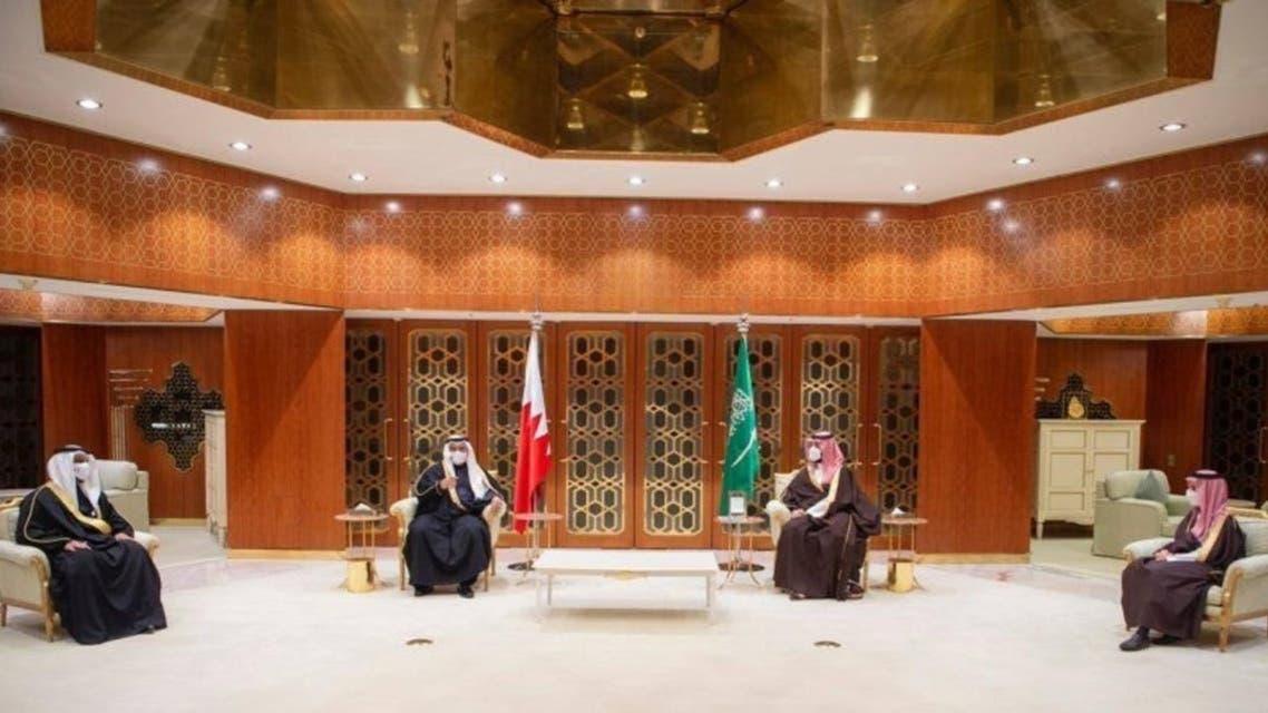 Saudi Crown Prince while receiving the Crown Prince of Bahrain