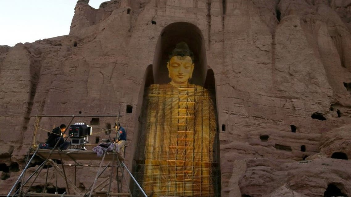 A photo showing the projected image of a Buddha statue in Bamiyan from a similar event on This photo taken on June 7, 2015. (AFP)