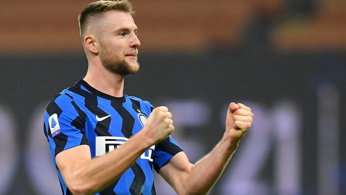 Inter Milan's Milan Skriniar celebrates after the match. (Reuters)