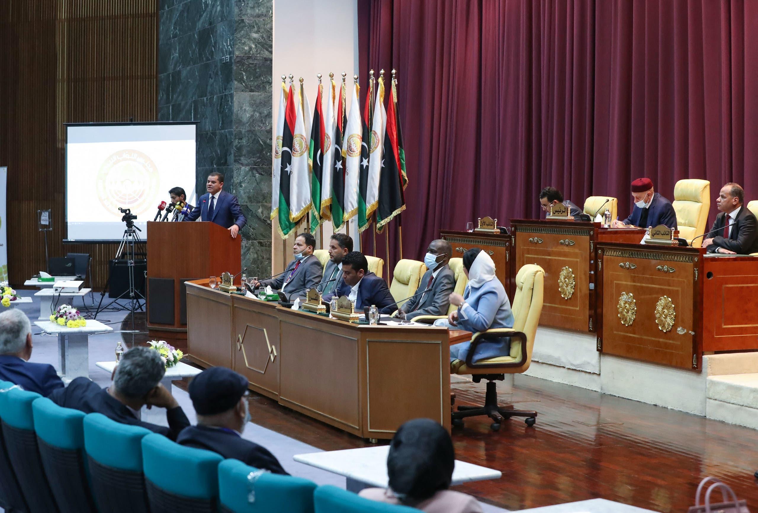 من جلسة البرلمان الليبي في سرت (أرشيفية- فرانس برس)
