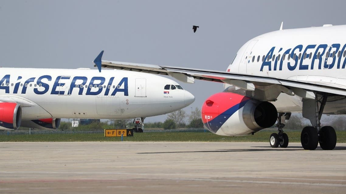 Air Serbia planes that are set to take medical supplies from the Nikola Tesla Airport to Italy to help the fight against the coronavirus disease (COVID-19), Belgrade, Serbia, April 25, 2020. (Reuters/Marko Djurica)