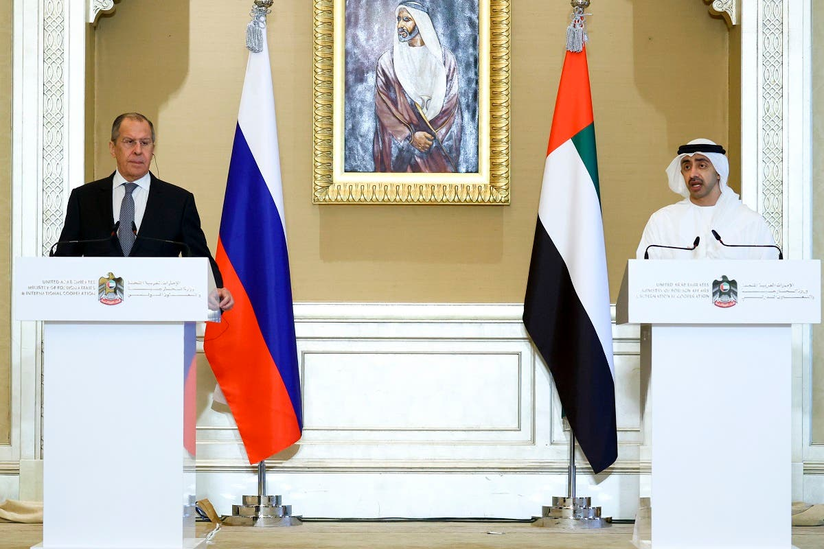 Russian Foreign Minister Sergey Lavrov and UAE's Foreign Affairs Minister Sheikh Abdullah bin Zayed in Abu Dhabi, UAE, March 9, 2021. (AP)