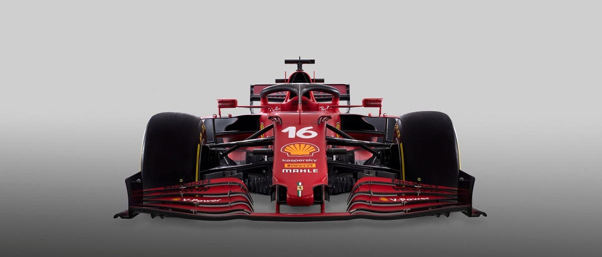 The new SF12 Ferrari F1 car is seen in this handout photo released from Maranello, Italy, on March 10, 2021. (Reuters)