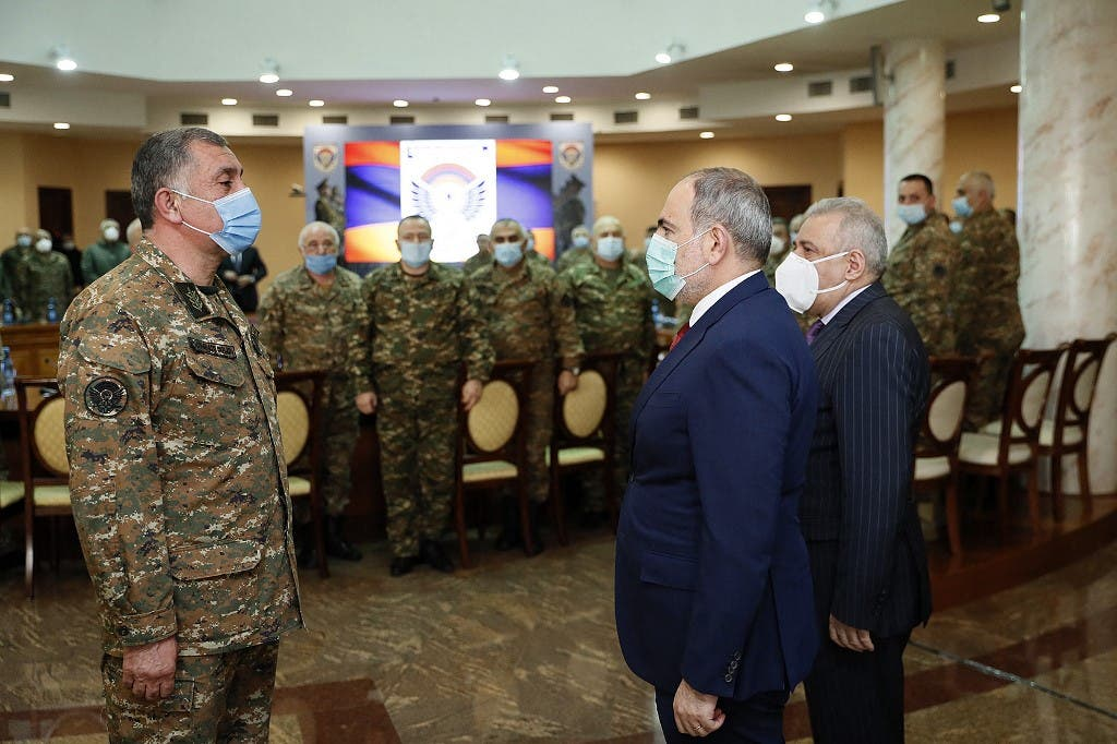Armenian Prime Minister Nikol Pashinyan meets with top military officers in Yerevan on March 10, 2021. (AFP)