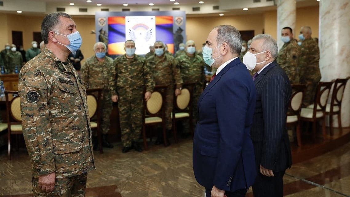 Armenian Prime Minister Nikol Pashinyan meets with top military officers in Yerevan on March 10, 2021. Handout / Armenian Government / AFP