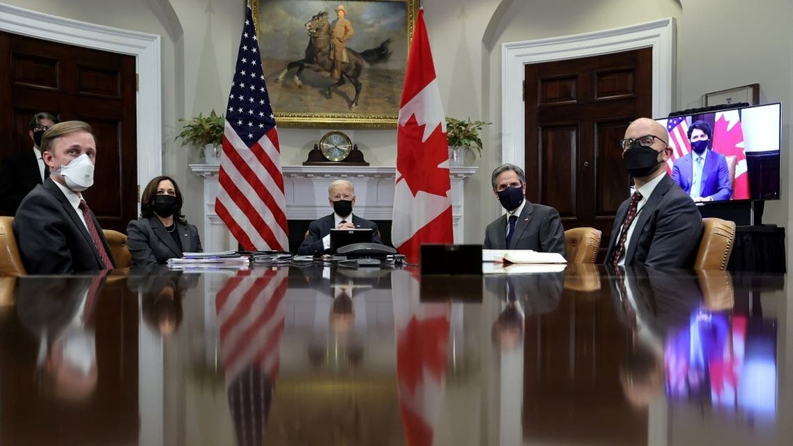 President Joe Biden with National Security Advisor Jake Sullivan, Vice President Kamala Harris, and Secretary of State Antony Blinken, Feb. 23, 2021. (Reuters)