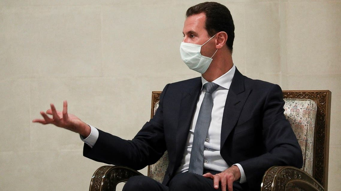 Syrian President Bashar al-Assad speaks to Russian Foreign Minister Sergey Lavrov in Damascus, Syria, Sept. 7, 2020. (AP)