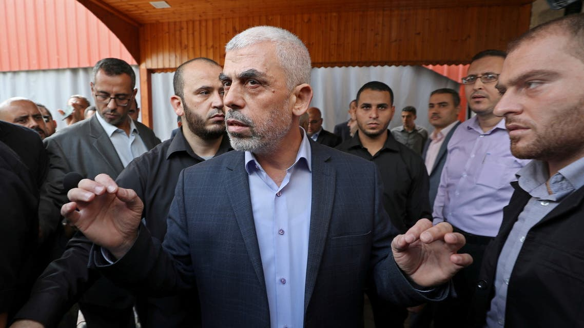 Gaza's Hamas Chief Yehya Al-Sinwar talks to media before meeting with Chairman of the Palestinian Central Election Committee Hana Naser, in Gaza City October 28, 2019. (Reuters)