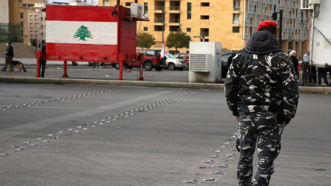 A Lebanese police walks in Beirut, Lebanon March 4, 2021. Picture taken March 4, 2021. REUTERS/Mohamed Azakir