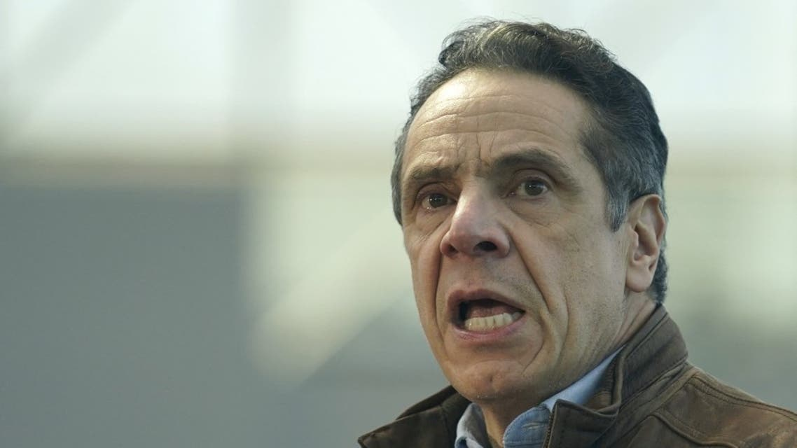New York Governor Andrew Cuomo speaks to people at a vaccination site on March 8, 2021, in New York. (AFP)
