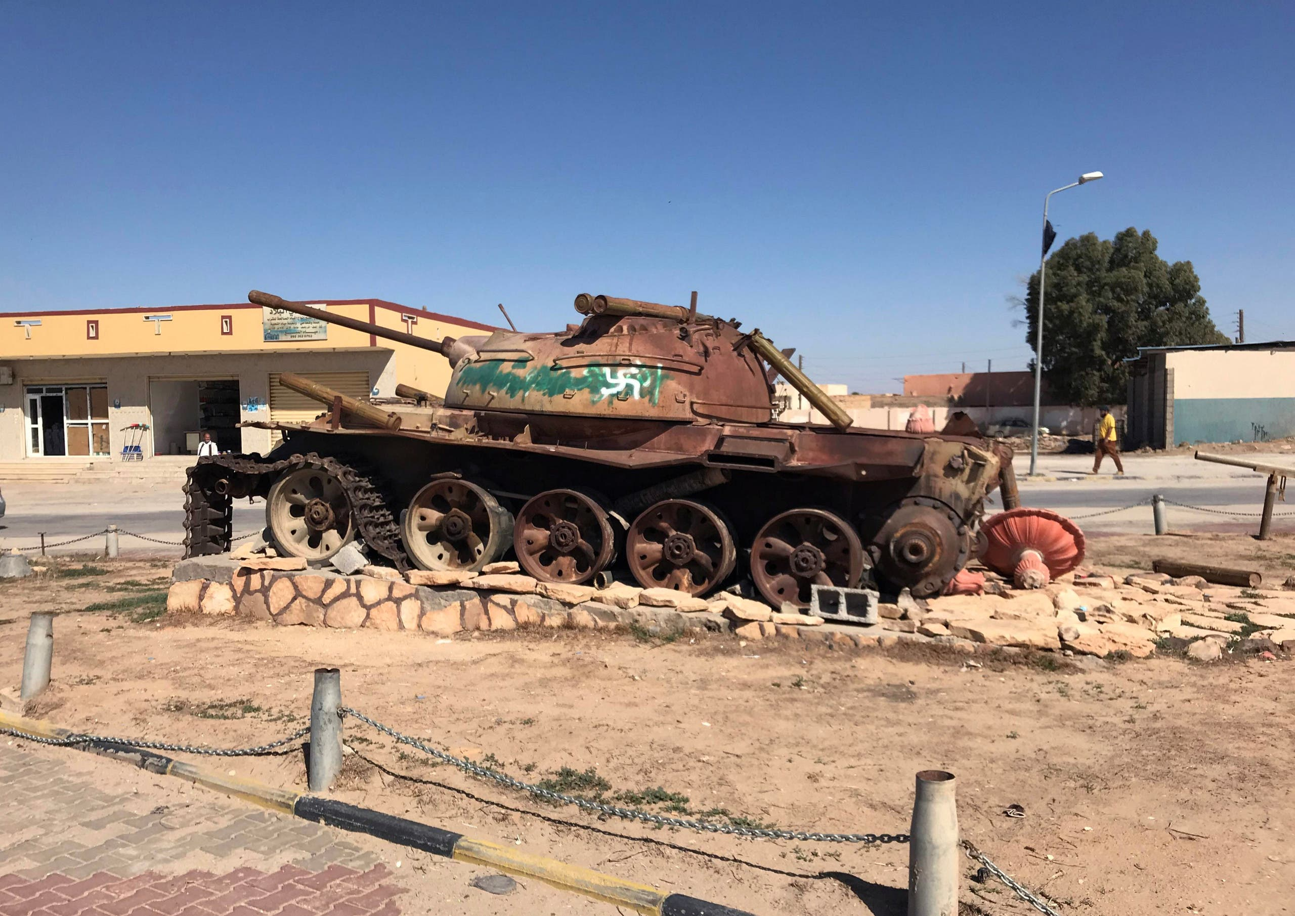A military vehicle stands in the city of Bani Walid, Libya October 29, 2017. Picture taken October 29, 2017. (Reuters)