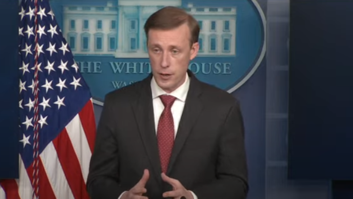NSA Jake Sullivan speaks to reporters from the White House, March 12, 2021. (Screengrab)