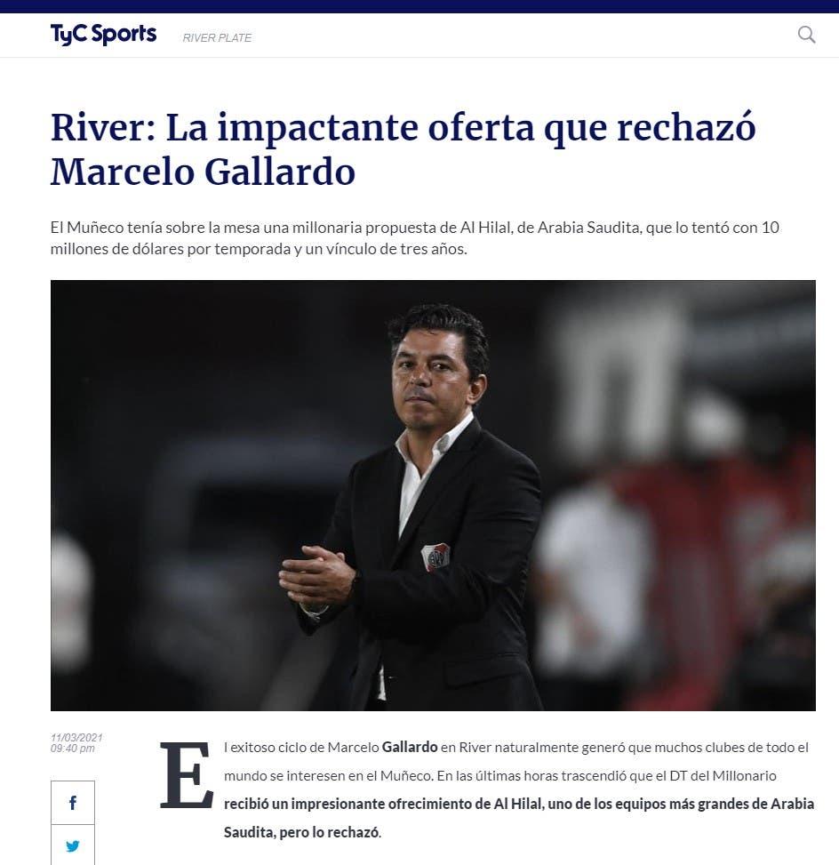 صورة ضوئية من موقع الصحيفة الأرجنتنينية
