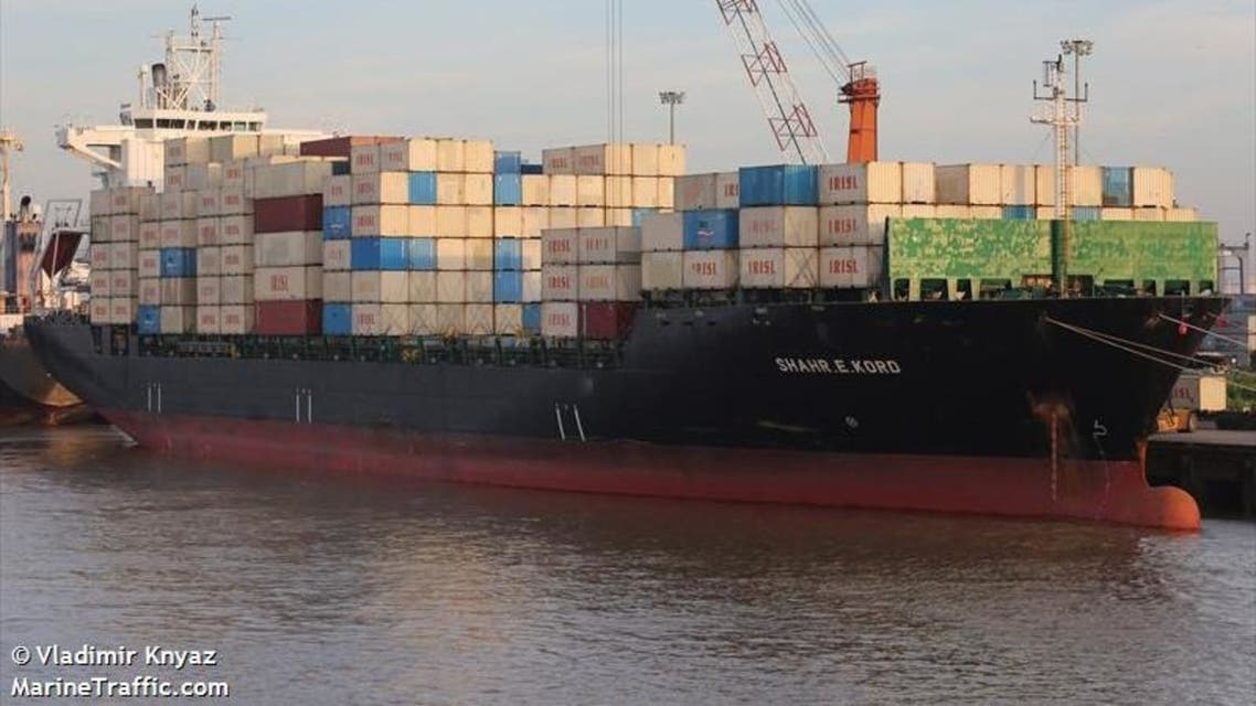 The ship, Shahre Kord, was slightly damaged by an explosive object which caused a small fire. (Photo courtesy: Vladimir Knyaz via MarineTraffic.com)