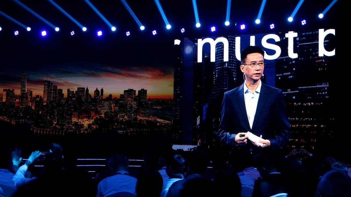 Simon Hu, CEO of Ant Group, is seen on a giant screen as he delivers a speech at the INCLUSION Fintech Conference in Shanghai, China, on September 24, 2020. (Reuters)