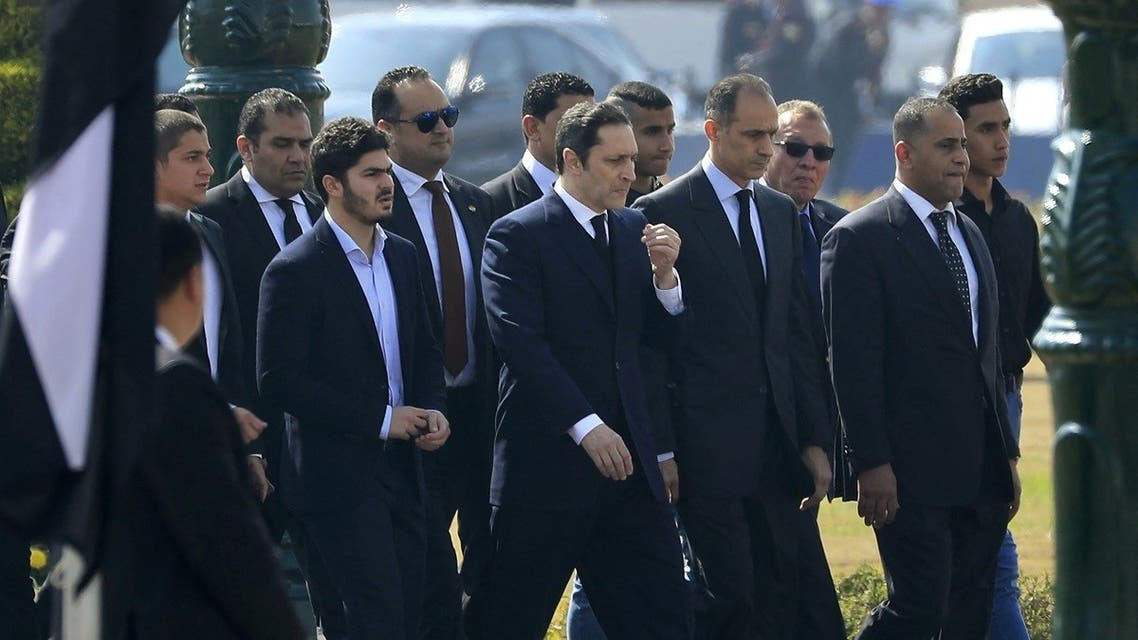 The sons of of Egypt's former president Hosni Mubarak, Alaa (6th R) and Gamal (4th R), attend their father's funeral ceremony at Cairo's Field Marshal Hussein Tantawi mosque in the eastern outskirts of the Egyptian capital before the funeral on February 26, 2020. (AFP)