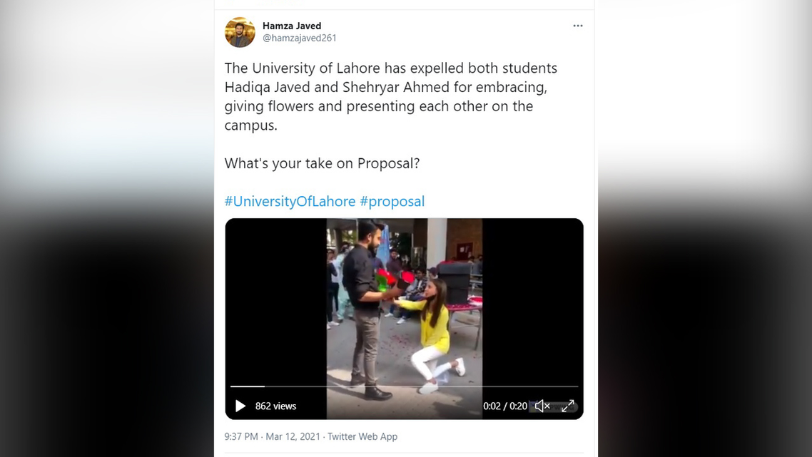A screengrab of one of many Tweets discussing the viral University of Lahore proposal video. (@hamzajaved261 via Twitter)