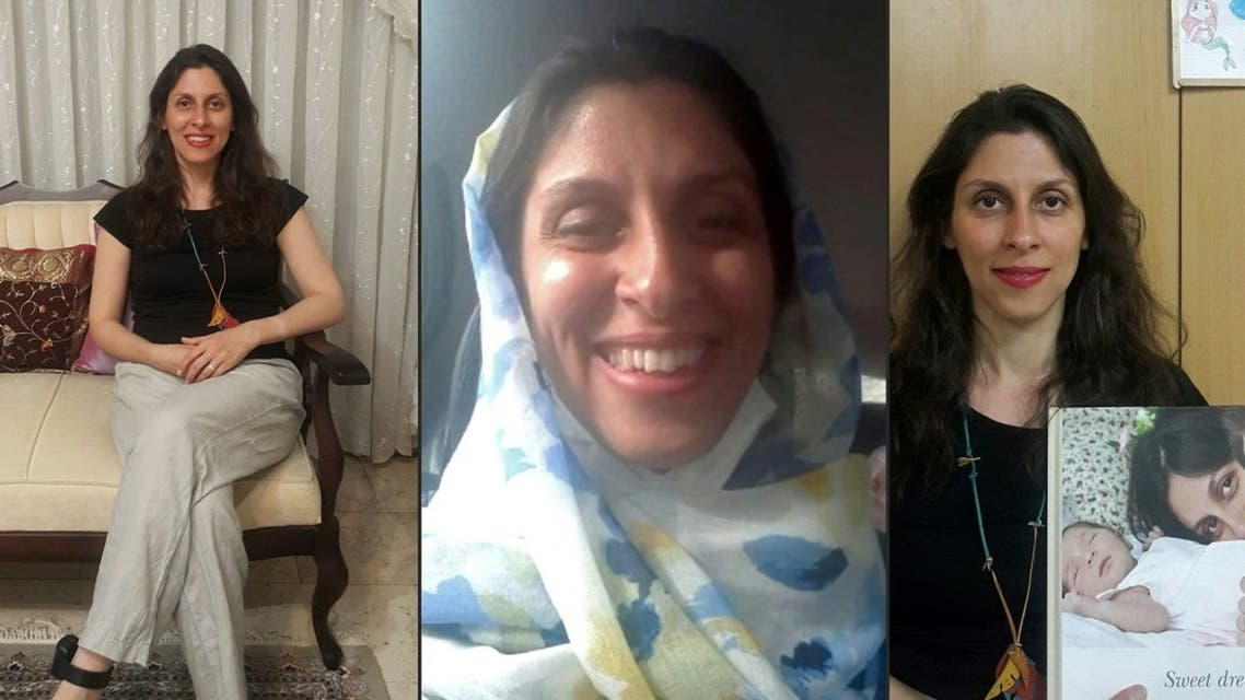 A combo released on March 17, 2020 shows (L) and (R) Nazanin Zaghari-Ratcliffe posing for a photo in West Tehran following a brief release from prison, wearing an ankle bracelet and holding an old picture of herself with her husband and daughter, and another (C) of her smiling while travelling by car. (Free Nazanin campaign/AFP)