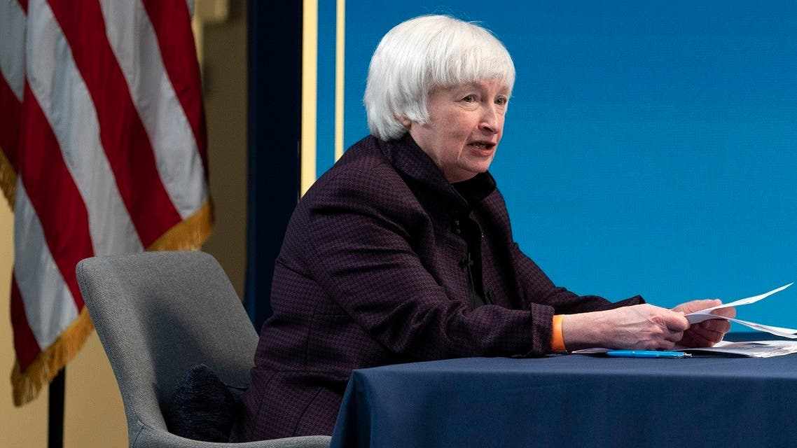 A file photo shows US Treasury Secretary Janet Yellen speaks during a virtual roundtable with participants from Black Chambers of Commerce, Feb. 5, 2021, from the White House complex in Washington. (AP/Jacquelyn Martin)
