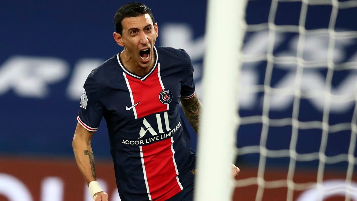 PSG's Angel Di Maria celebrates after scoring the opening goal of his team during the French League One soccer match between Paris Saint-Germain and Nimes at the Parc des Princes stadium in Paris, France, Wednesday, Feb. 3, 2021. (AP)