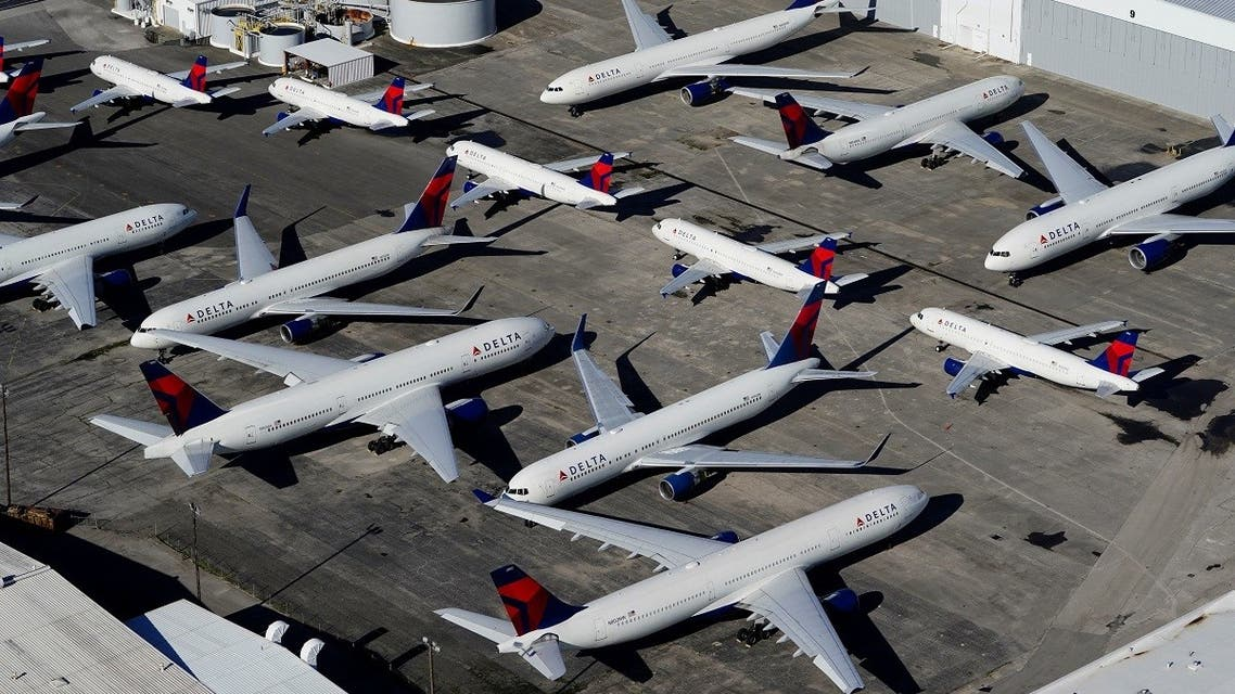 Delta Air Lines passenger planes are seen parked due to flight reductions because of the coronavirus, at Birmingham-Shuttlesworth International Airport in Birmingham, Alabama, US March 25, 2020. (Reuters/Elijah Nouvelage)