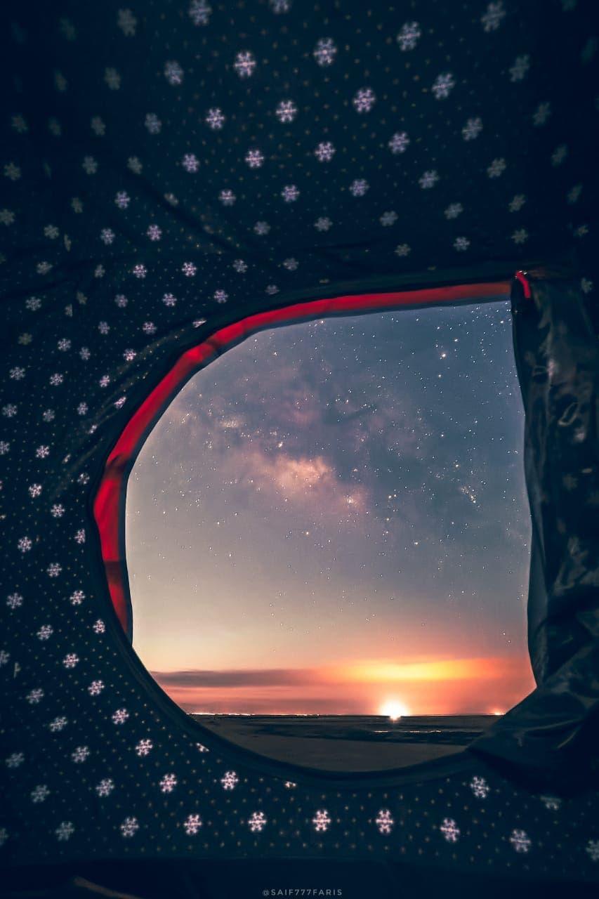 مدینہ منورہ کے علاقے میں رات کے وقت آسمان پر کہکشاں