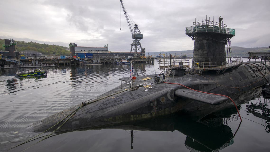 Vanguard-class submarine HMS Vigilant, one of the UK's four nuclear warhead-carrying submarines at HM Naval Base Clyde, Faslane, west of Glasgow, Scotland on April 29, 2019. A tour of the submarine was arranged to mark fifty years of the continuous, at sea nuclear deterrent.