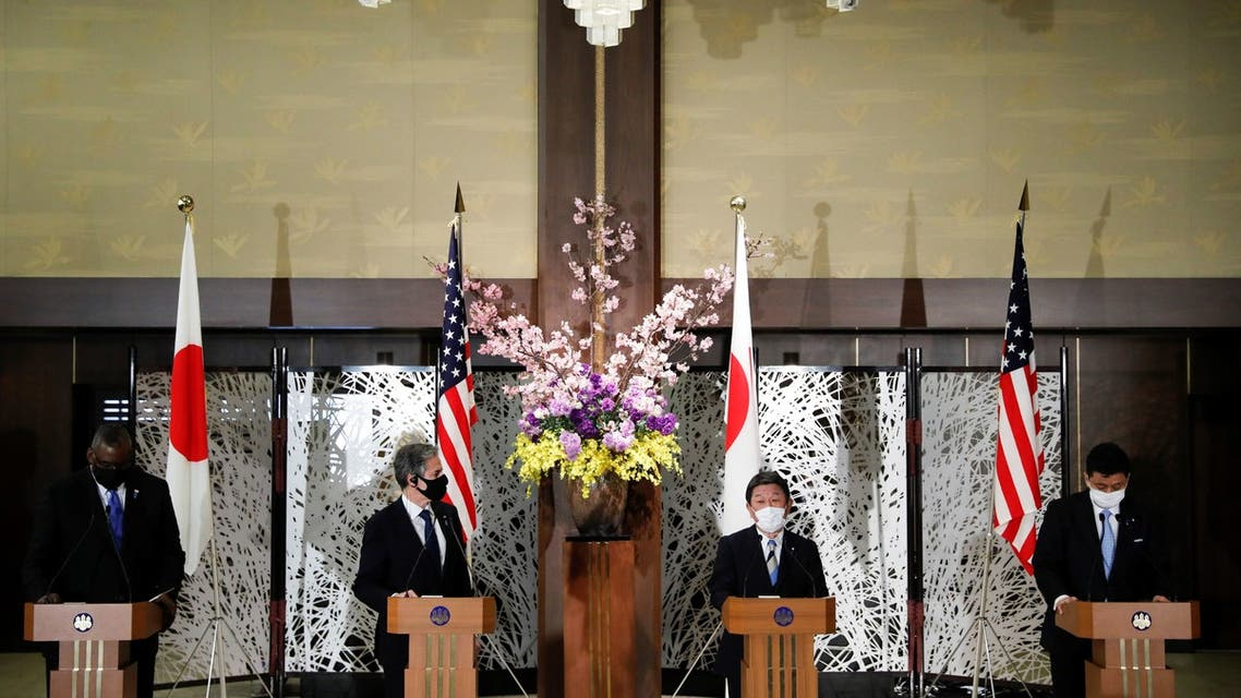 US Secretary of State Antony Blinken (2nd-L) and Defense Secretary Lloyd Austin (L) hold a joint press conference with Japan's Foreign Minister Toshimitsu Motegi (2nd-R) and Defence Minister Nobuo Kishi (R). (AFP)