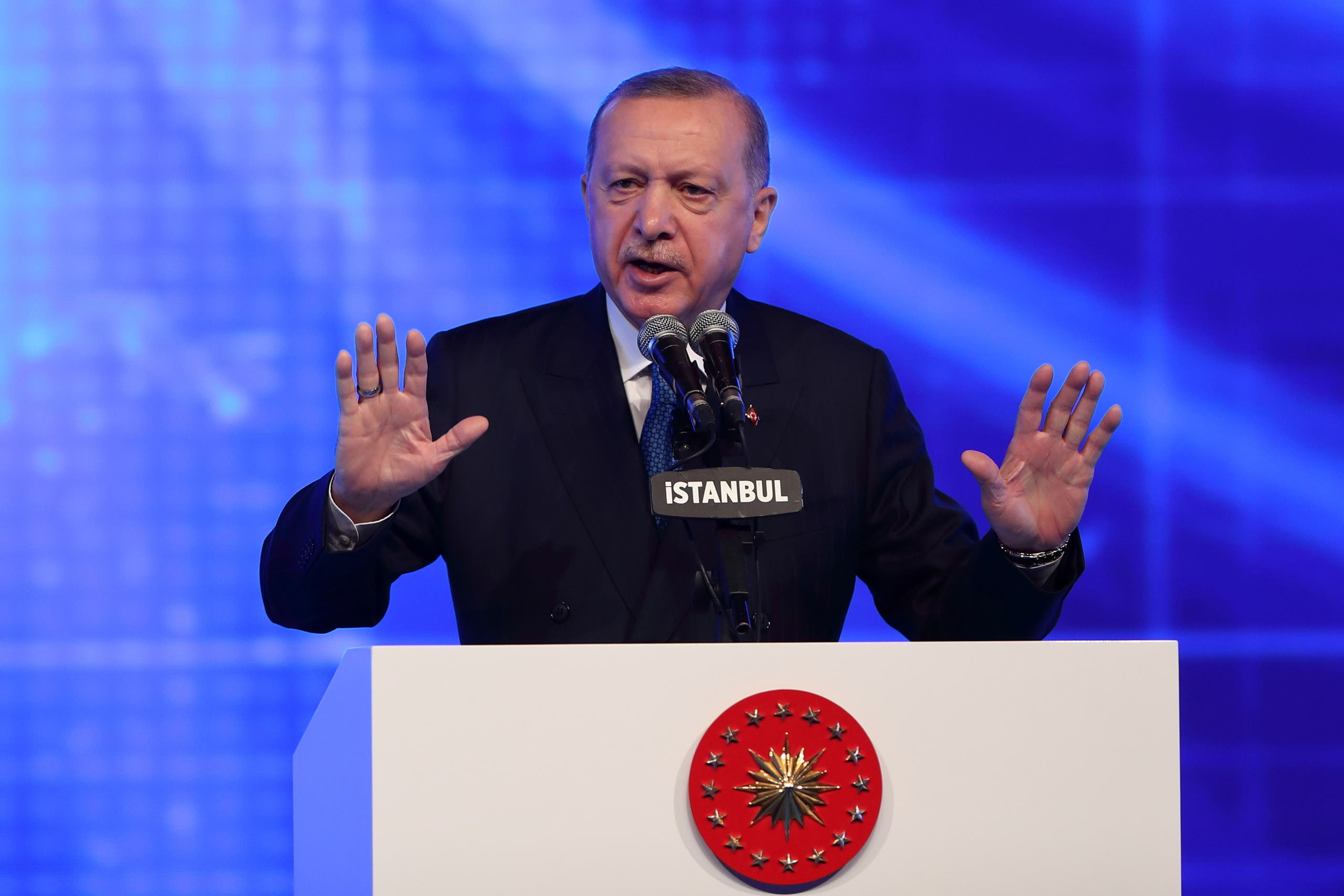 Turkish President Tayyip Erdogan speaks during a meeting to announce an economic reform package, in Istanbul, Turkey March 12, 2021. (Reuters/Murad Sezer)
