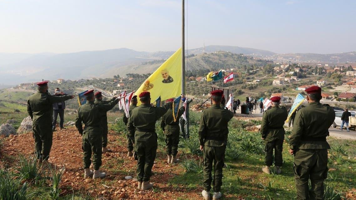 Hezbollah marks first anniversary of the killing of Iran's Qassem Soleimani and Iraqi militia commander Abu Mahdi al-Muhandis near the border with Israel Jan. 3, 2021. (Reuters)