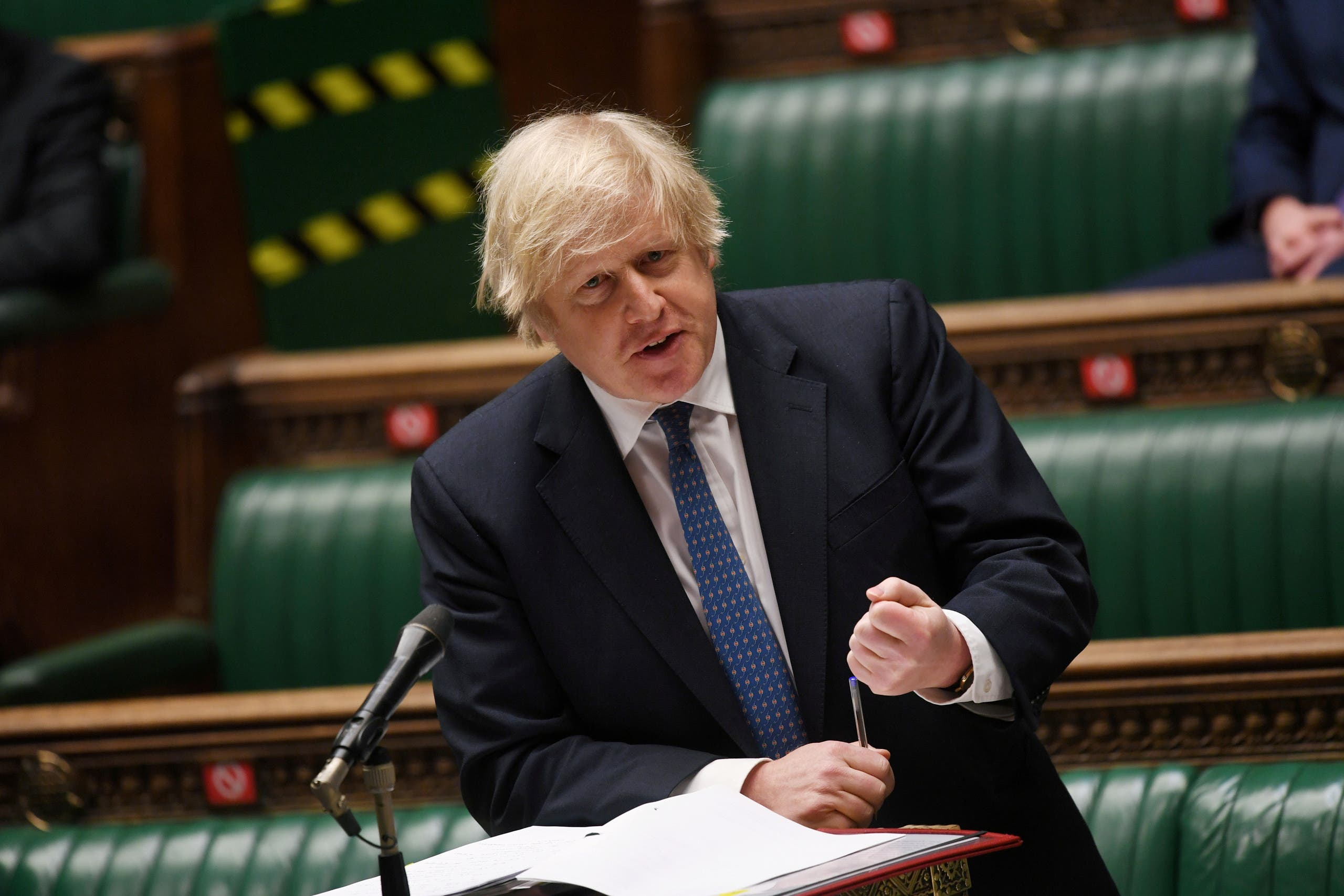 A file photo shows British Prime Minister Boris Johnson speaks during the weekly question time debate at the House of Commons in London, Britain March 10, 2021. (UK Parliament/Jessica Taylor/Handout via Reuters)